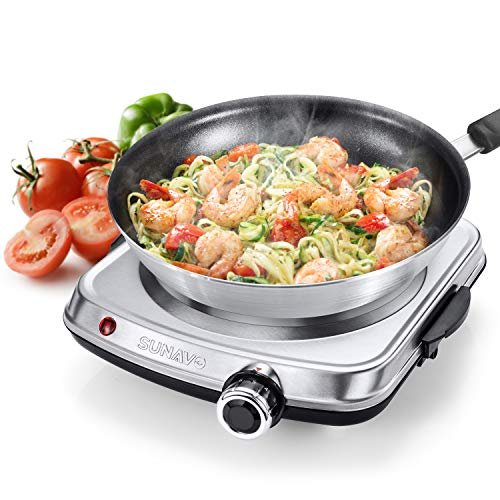 SUNAVO Hot Plates for Cooking Electric Single Burner with Handles 1500W, Stainless Steel