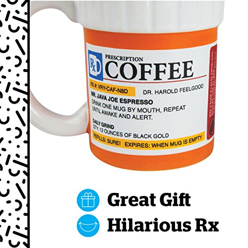 Bigmouth Inc. The Prescription Coffee Mug Hilarious 12 Oz Ceramic Coffee Cup In The Shape Of A Pill Bottle Perfect For Home Or Office, Makes A Great Gift