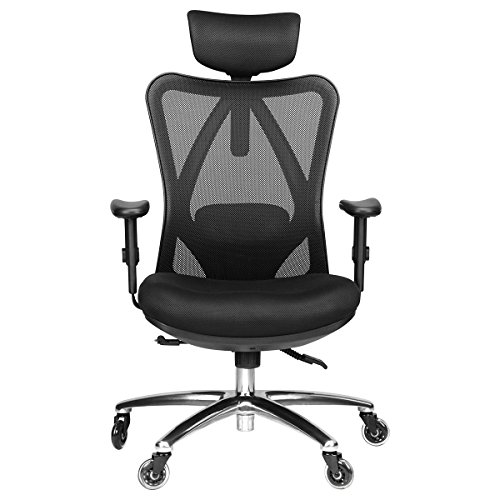 Duramont Ergonomic Adjustable Office Chair With Lumbar Support And Rollerblade Wheels High Back With Breathable Mesh Thick Seat Cushion Adjustable Head & Arm Rests, Seat Height Reclines