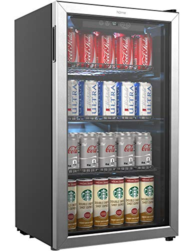 Homelabs Beverage Refrigerator And Cooler 120 Can Mini Fridge With Glass Door For Soda Beer Or Wine Small Drink Dispenser Machine For Office Or Bar With Adjustable Removable Shelves