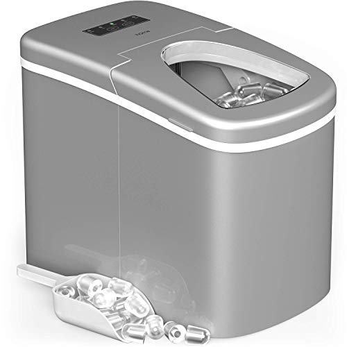 Homelabs Portable Ice Maker Machine For Countertop Makes 26 Lbs Of Ice Per 24 Hours Ice Cubes Ready In 8 Minutes Electric Ice Making Machine With Ice Scoop And 1.5 Lb Ice Storage Metallic Gray