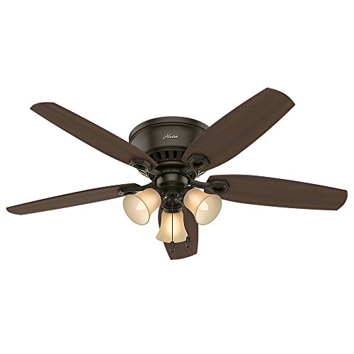 Hunter Indoor Low Profile Ceiling Fan, With Pull Chain Control Builder 52 Inch, New Bronze, 53327