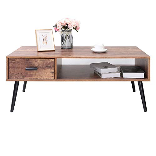 Iwell Mid Century Coffee Table With 1 Drawer And Storage Shelf For Living Room, Cocktail Table, Tv Table, Rectangular Sofa Table, Office Table, Solid Elegant Functional Table, Easy Assembly Cfz004f