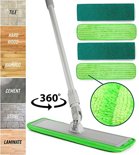 Microfiber Mop Floor Cleaning System Washable Pads Perfect Cleaner For Hardwood, Laminate & Tile 360 Dry Wet Reusable Dust Mops With Soft Refill Pads & Handle For Wood, Walls, Vinyl, Kitchen