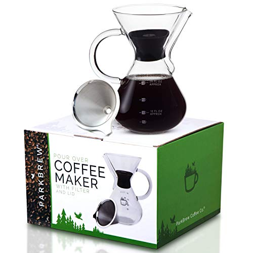Parkbrew Pour Over Coffee Maker Includes Glass Pourover Carafe (up To 27 Fl. Oz.), Carafe Lid, Reusable Coffee Filter Or Dripper