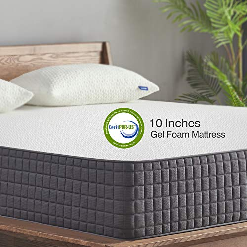 Queen Mattress Sweetnight 10 Inch Queen Size Mattress Infused Gel Memory Foam Mattress For Back Pain Relief & Cool Sleep, Medium Firm With Certipur Us Certified, 10 Years Warranty