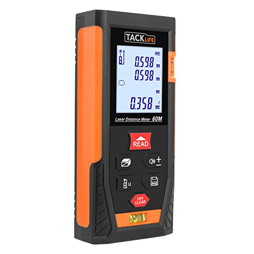 Tacklife Hd60 Classic Laser Measure 196ft M/in/ft Mute Laser Distance Meter With 2 Bubble Levels, Backlit Lcd And Pythagorean Mode, Measure Distance, Area And Volume Carry Pouch And Battery Included