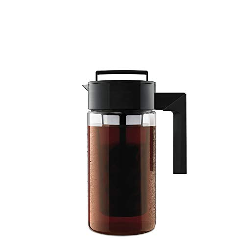 Takeya 10310 Patented Deluxe Cold Brew Iced Coffee Maker With Airtight Lid & Silicone Handle, 1 Quart, Black Made In Usa Bpa Free Dishwasher Safe