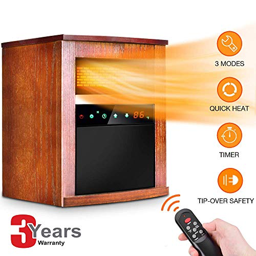 Electric Space Heater 1500w Infrared Heater With 3 Heat Settings, Remote Control&timer, Room Heater With Overheat&tip Over Shut Off Protection, For Indoor Use, Quiet Operation, Wood Cabinet, L, Brown