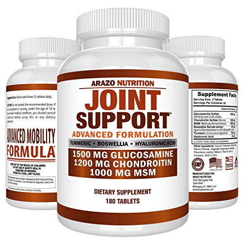 Glucosamine Chondroitin Turmeric Msm Boswellia Joint Support Supplement For Relief 180 Tablets Arazo Nutrition