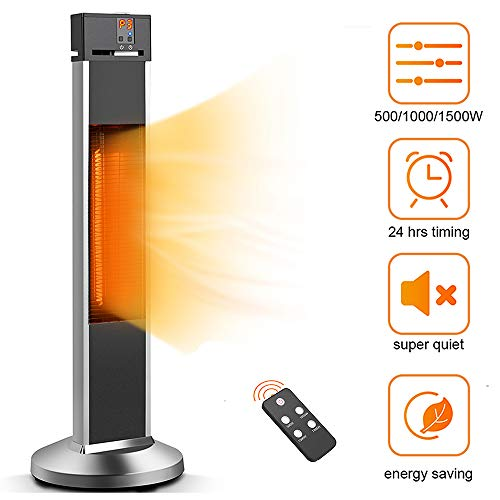 Trustech Patio Heater Space Heater Electic Infrared Heater W/remote, 24 Timing Auto Shut Off Radiant Heater, 500/1000/1500w, Super Quiet 3s Instant Warm Vertical Heater For Big Room Outdoor Backyard