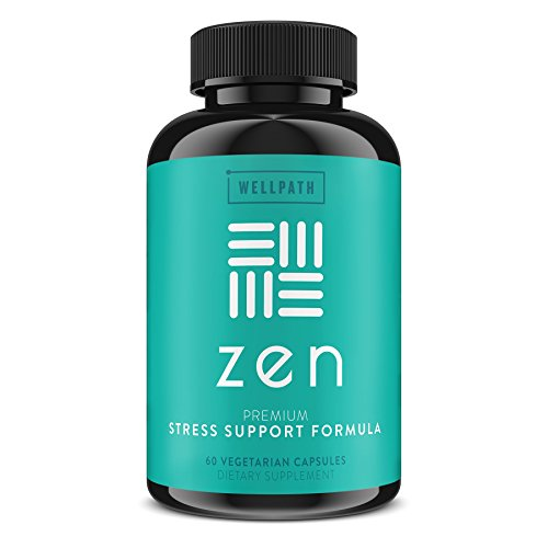 Zen Anxiety And Stress Relief Supplement Natural Herbal Formula Supporting Calm, Positive Mood With Ashwagandha, L Theanine, Rhodiola Rosea 60 Vegetarian Capsules