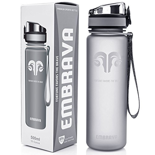 Best Sports Water Bottle 17oz (500 Ml) Small Eco Friendly & Bpa Free Plastic For Running, Gym, Yoga, Outdoors And Camping Fast Water Flow, Flip Top, Opens With 1 Click Leak Proof Lid