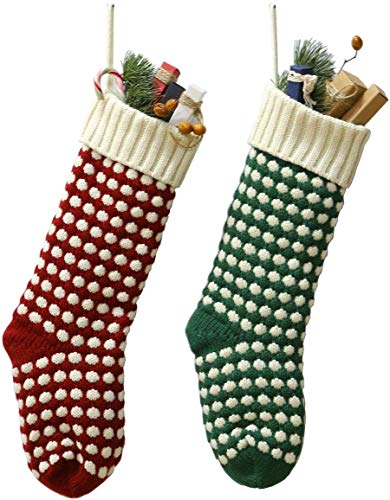 "Owlgift 18"" Knit Christmas Stockings, Crochet Xmas Socks Decoration, Set Of 2, Green & Red"