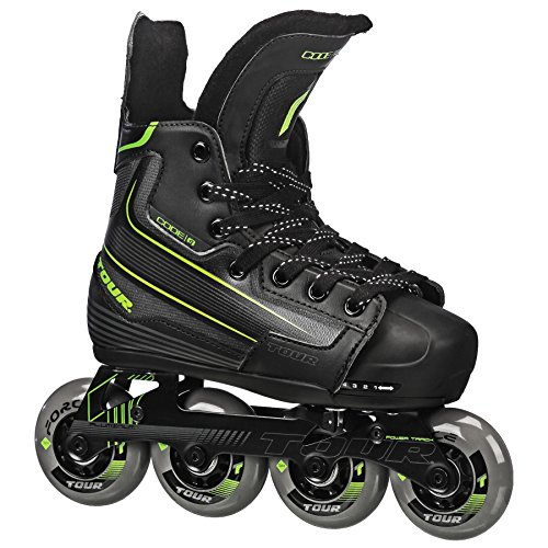 Tour Hockey Code 9 Youth Adjustable Inline Hockey Skate, Black, Small 11 1