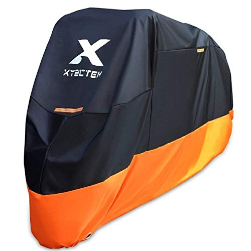 Xyzctem Motorcycle Cover All Season Waterproof Outdoor Protection Precision Fit Up To 108 Inch Tour Bikes, Choppers And Cruisers Protect Against Dust, Debris, Rain And Weather(xxl,black& Orange)