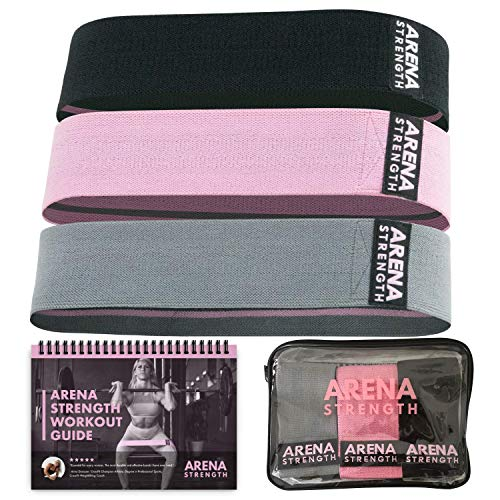 Arena Strength Fabric Booty Bands: Fabric Resistance Bands For Legs And Butt: 3 Pack Set. Perfect Workout Hip Band Resistance. Workout Program And Carry Case Included.