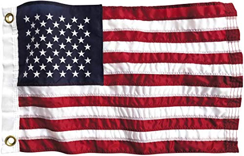Boat Flag 12x18 Inch American Flag | Marine Grade Nylon Us Yacht Flag For Boating All Weather Fade Resistant Material, Brass Grommets, Embroidered Stars, And Sewn Stripes | Made In Usa