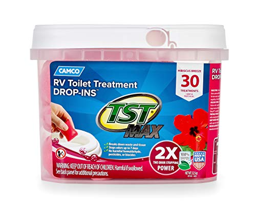 Camco 41604 30 Pack Strength Tst Ultra Concentrated Hibiscus Breeze Scent Rv Toilet Max Treatment Drop Ins, Formaldehyde Free, Breaks Down Waste And Tissue, Septic Tank Safe