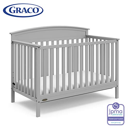 Graco Benton 4 In 1 Convertible Crib (pebble Gray) Easily Converts To Toddler Bed, Daybed Or Full Size Bed With Headboard, 3 Position Adjustable Mattress Support Base