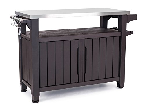 Keter Unity Xl Portable Outdoor Table With Storage Cabinet And Stainless Steel Top, X Large, Espresso Brown