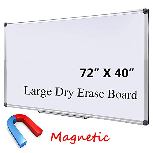 "Large 72 X 40 In Magnetic Dry Erase Board With Pen Tray| Wall Mounted Aluminum Message Presentation Memo White Board For Office Home And School (72"" X 40"")"