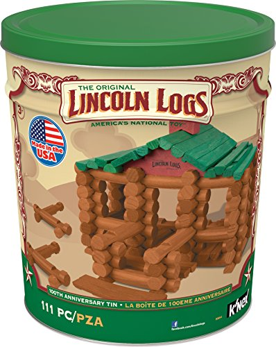 Lincoln Logs 100th Anniversary Tin 111 All Wood Pieces Ages 3+ Construction Education Toy