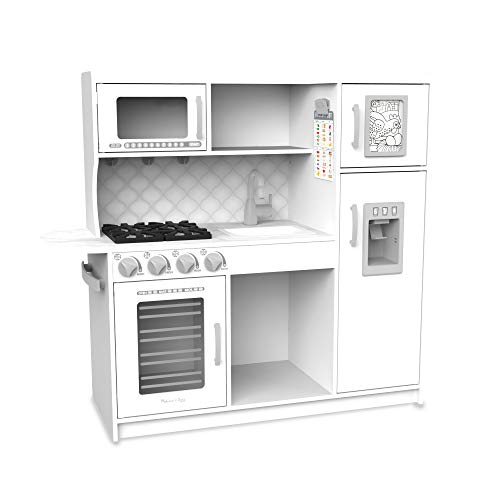 """Melissa & Doug Wooden Chef's Pretend Play Toy Kitchen With """"ice"""" Cube Dispenser Cloud White"""