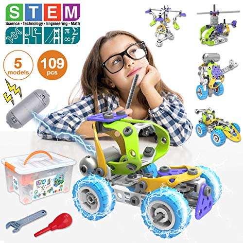 Pakoo Stem Toys Kit 5 In 1 Motorized Educational Construction Engineering Building Blocks Toys Set For 6 7 8 9 10+ Year Old Boys & Girls | Best Birthday Toy Gifts For Kids
