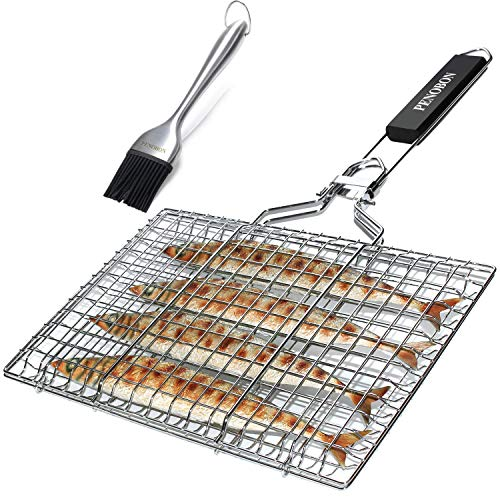 Penobon Fish Grilling Basket, Folding Portable Stainless Steel Bbq Grill Basket For Fish Vegetables Shrimp With Removable Handle, Come With Basting Brush And Storage Bag