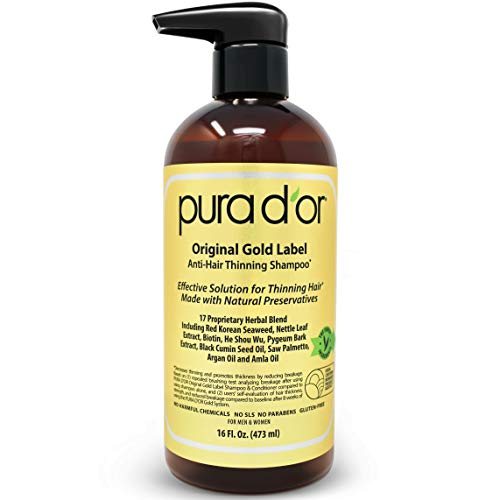Pura D'or Original Gold Label Anti Thinning Shampoo Clinically Tested, Infused With Argan Oil, Biotin & Natural Ingredients, Sulfate Free, All Hair Types, Men And Women, 16 Fl Oz (packaging May Vary)