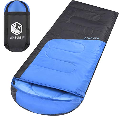 Summer Sleeping Bag, Single, Regular Size Lightweight, Comfortable, Water Resistant Backpacking Sleeping Bag For Adults & Kids Ideal For Hiking, Camping & Outdoor Adventures Blue / Gray