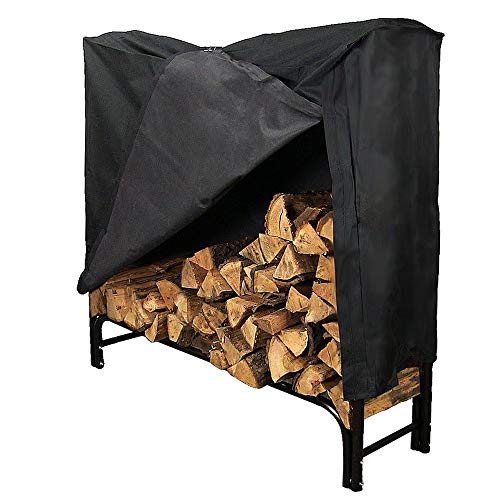 Sunnydaze 4 Foot Firewood Log Rack With Cover Combo, Outdoor Wood Storage Holder, Black