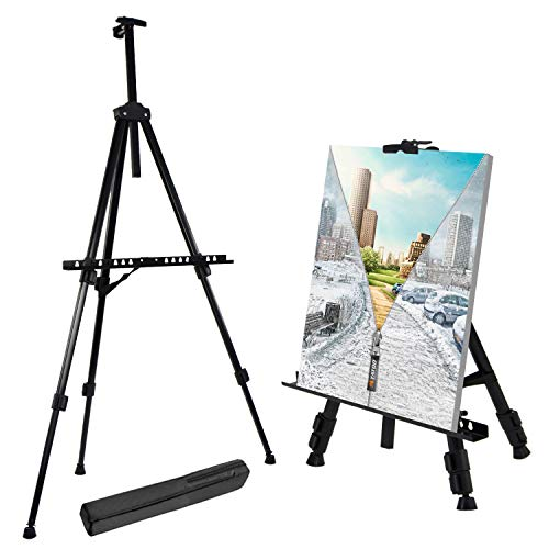 T Sign 66 Inches Reinforced Artist Easel Stand, Extra Thick Aluminum Metal Tripod Display Easel 21 To 66 Inches Adjustable Height With Portable Bag For Floor/table Top Drawing And Displaying