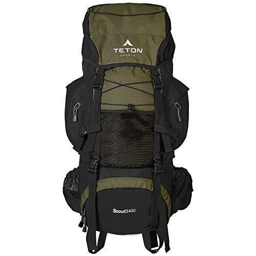 Teton Sports Scout 3400 Internal Frame Backpack; High Performance Backpack For Backpacking, Hiking, Camping; Hunter Green
