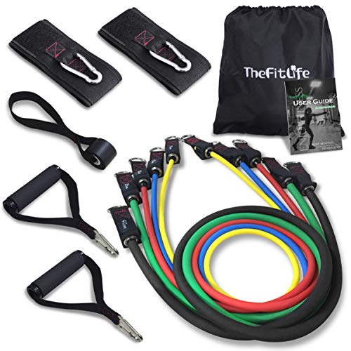 Thefitlife Exercise Resistance Bands With Handles 5 Fitness Workout Bands Stackable Up To 110 Lbs, Training Tubes With Large Handles, Ankle Straps, Door Anchor Attachment, Carry Bag And Bonus Ebook