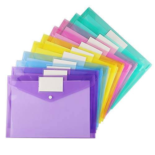 20 Pack Plastic Envelopes Poly Envelopes, Sooez Clear Document Folders Us Letter A4 Size File Envelopes With Label Pocket & Snap Button For School Home Work Office Organization, Assorted Color