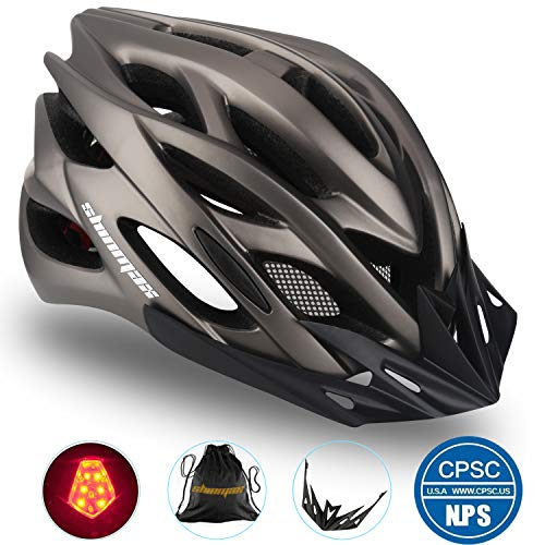 Basecamp Specialized Bike Helmet, Bicycle Helmet Cpsc&ce Certified With Helmet Accessories Led Light&removable Visor&portable Bag Cycling Helmet Bc Ddtk Adjustable For Men/women(titanium)