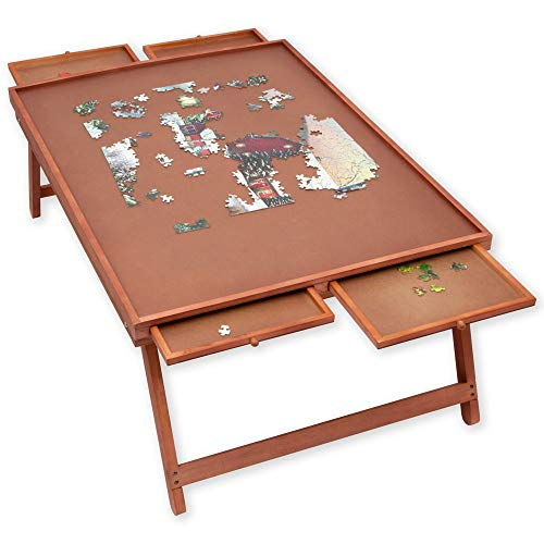 Bits And Pieces Jumbo Puzzle Wooden Plateau Lounger With Cover Smooth Fiberboard Work Surface Puzzle Storage System
