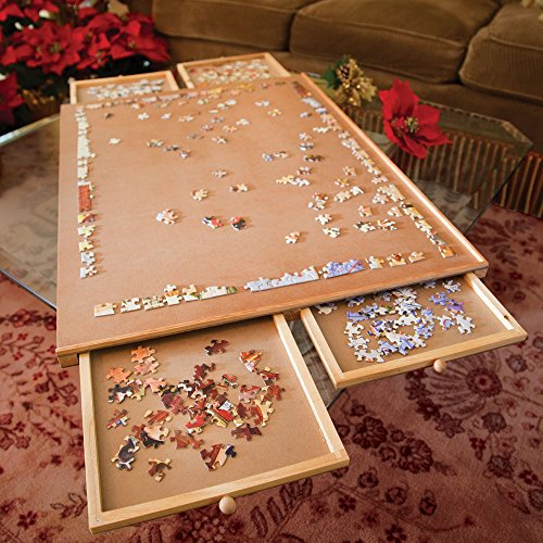 Bits And Pieces Jumbo Size Wooden Puzzle Plateau Smooth Fiberboard Work Surface Four Sliding Drawers Complete This Puzzle Storage System