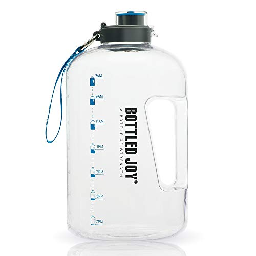 Bottled Joy 1 Gallon Water Bottle, Bpa Free Large Water Bottle Hydration With Motivational Time Marker Reminder Leak Proof Drinking Big Water Jug For Camping Sports Workouts And Outdoor Activity
