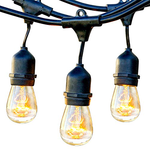 Brightech Ambience Pro Waterproof Outdoor String Lights Hanging Industrial 11w Edison Bulbs 48 Ft Vintage Bistro Lights Create Great Ambience In Your Backyard, Gazebo
