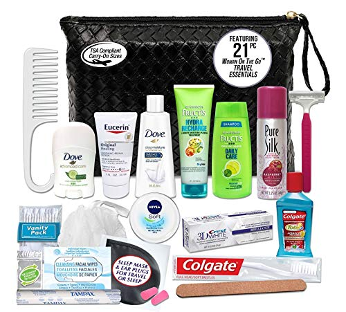 Convenience Kits International Women's Premium 21 Piece Assembled Necessities Travel Kit, Featuring: Fructis Hair Products
