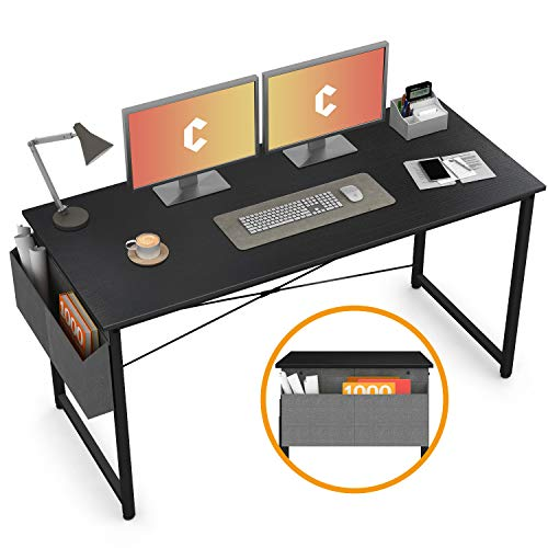 """Cubiker Computer Desk 55"""" Home Office Writing Study Desk, Modern Simple Style Laptop Table With Storage Bag, Black"""