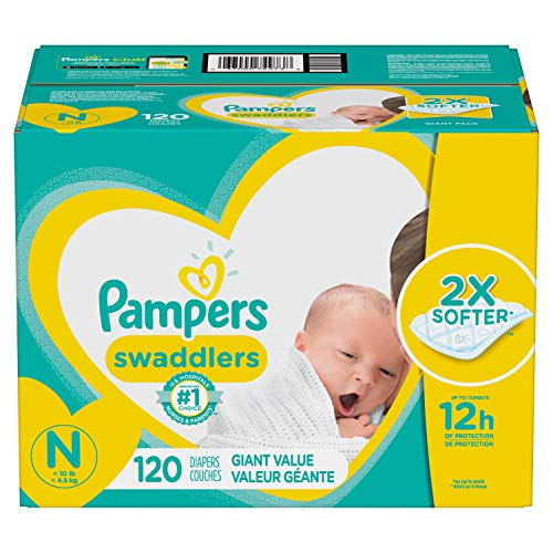 Diapers Newborn / Size 0 (< 10 Lb), 120 Count Pampers Swaddlers Disposable Baby Diapers, Giant Pack