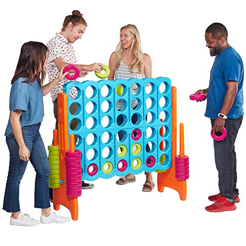 Ecr4kids Jumbo 4 To Score Giant Game Set, Backyard Games For Kids, Jumbo Connect All 4 Game Set, Indoor Or Outdoor Game, Adult And Family Fun Game, Easy To Transport, 4 Feet Tall, Vibrant