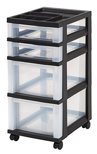 Iris 4 Drawer Rolling Storage Cart With Organizer Top, Black