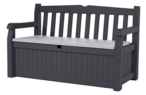 Keter Eden 70 Gallon Storage Bench Deck Box For Patio Decor And Outdoor Seating, Grey