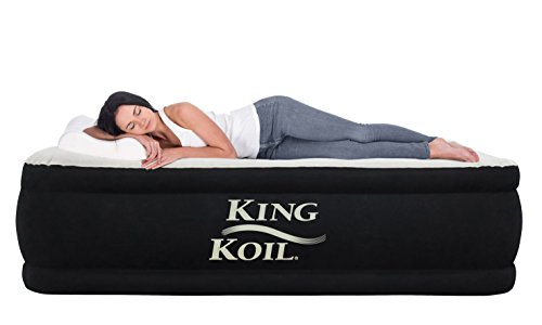 King Koil Queen Air Mattress With Built In Pump Best Inflatable Airbed Queen Size Elevated Raised Air Mattress Quilt Top 1 Year Manufacturer Guarantee Included
