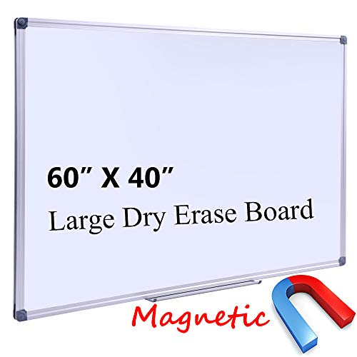 "Large 60 X 40 In Magnetic Dry Erase Board With Pen Tray| Wall Mounted Aluminum Message Presentation Memo White Board For Office Home And School (60"" X 40"")"